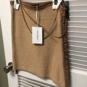 Salvatore Ferragamo Dresses - Sexy Salvatore Ferragamo Cotton Skirt with Leather